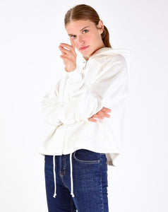 Women's Hooded Zipped Ecru Cardigan