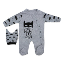 Load image into Gallery viewer, Baby's Printed Grey Romper & Beanie Set