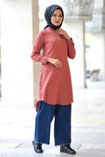 Load image into Gallery viewer, Women's Crew Neck Button Vermilion Tunic