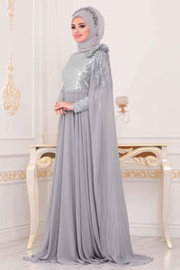 Women's Sequined Top Tulle Grey Evening Dress