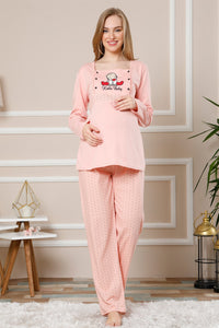 Women's Powder Rose Cotton Maternity Pajama Set