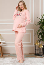 Load image into Gallery viewer, Women's Powder Rose Cotton Maternity Pajama Set