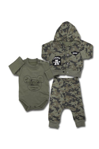 Baby's Hooded Camo Pattern Cardigan, Pajama Pants & Snapsuit Set