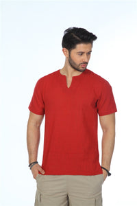 Men's Crew Neck Short Sleeves Claret Red T-shirt