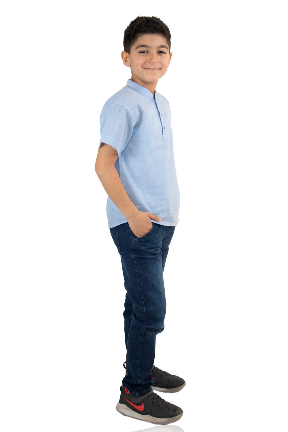 Boy's Short Sleeves Blue T-shirt