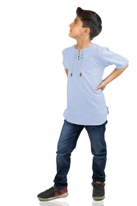 Kid's Lace-up Collar Ice Blue T-shirt