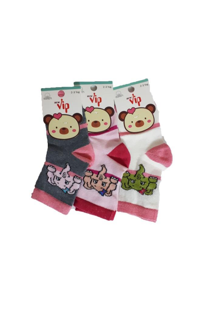 Girl's Patterned Socket Socks- 6 Pairs