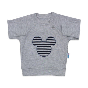 Baby's Navy Blue Striped Grey 2 Pieces Outfit Set