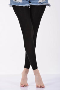 Women's Plain Black Angora Leggings - 1 Piece
