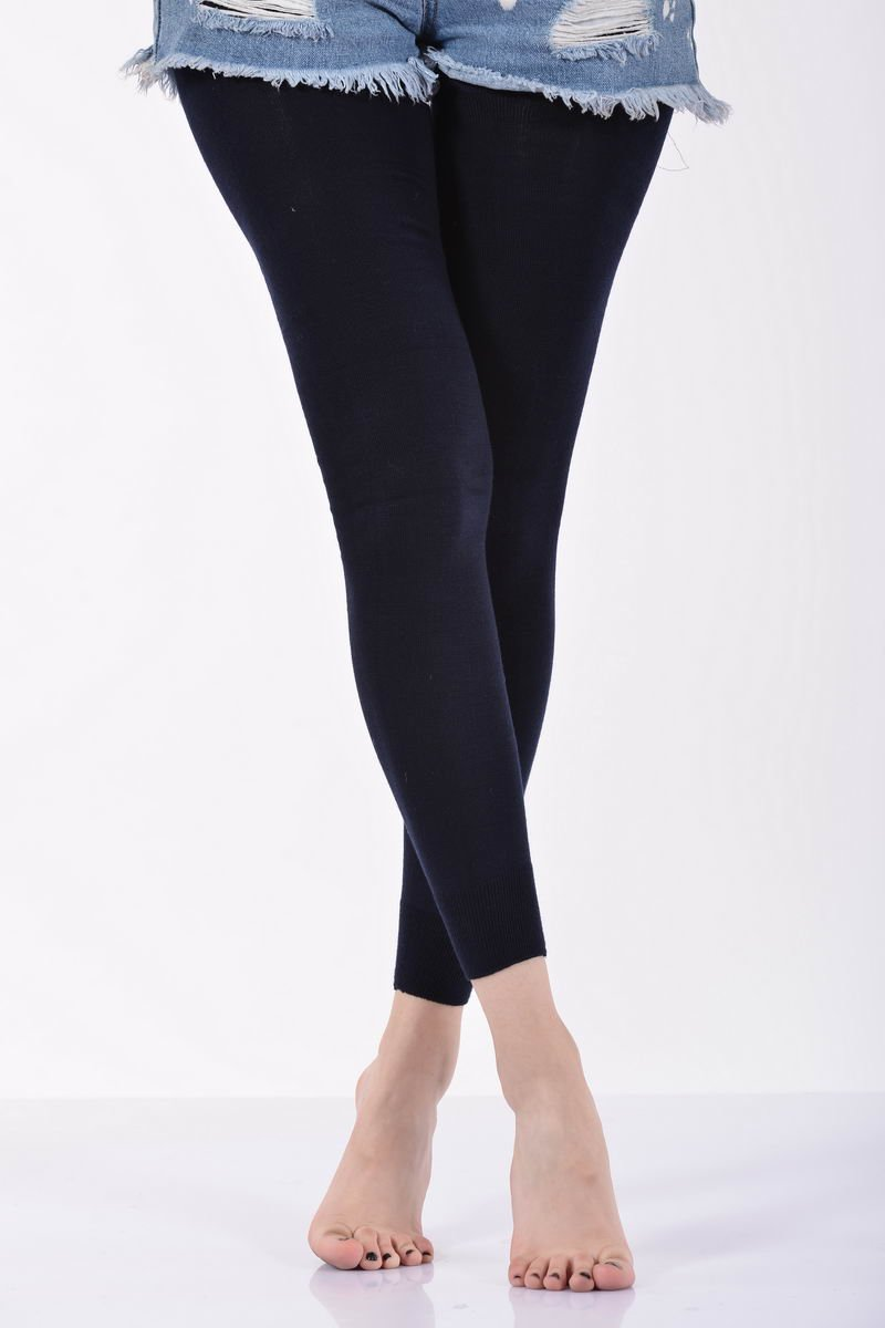 Women's Plain Navy Blue Angora Leggings - 1 Piece