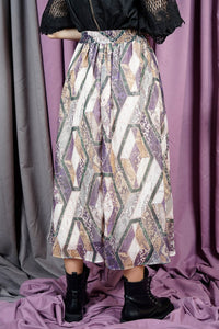 Women's Elastic Waist Patterned Lilac Midi Skirt
