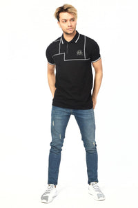 Men's Polo Collar Geometric Pattern White T-shirt