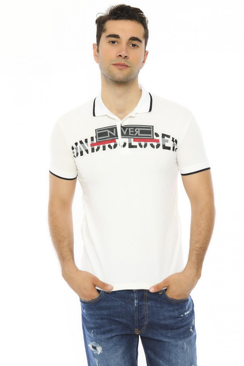 Men's Polo Collar Printed White Slim Fit T-shirt