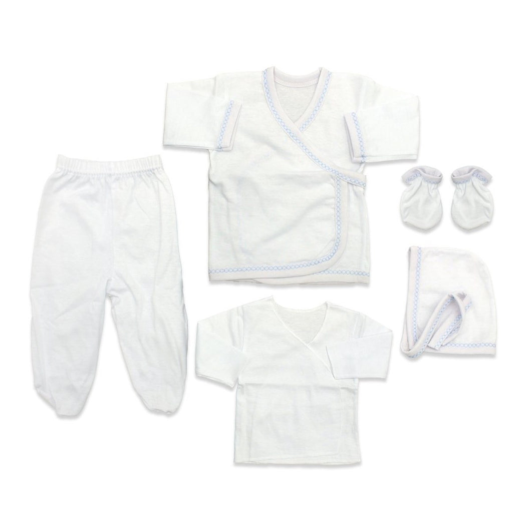 New Born Baby's Blue Striped Plain White Outfit- 5 Pieces