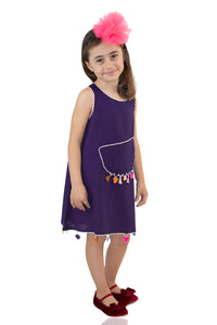 Girl's Fringe Purple Short Dress