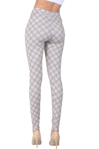 Women's Plaid Cream Pants/ Tights