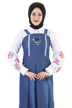 Load image into Gallery viewer, Women's Embroidered Guipure Detail Dark Blue Denim Modest Long Dress