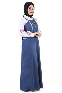 Women's Embroidered Guipure Detail Dark Blue Denim Modest Long Dress