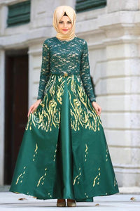 Women's Patterned Green Jacquard Evening Dress