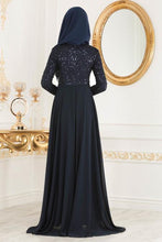 Load image into Gallery viewer, Women's Sequined Navy Blue Evening Dress