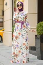 Load image into Gallery viewer, Women's Floral Pattern Ecru Modest Dress