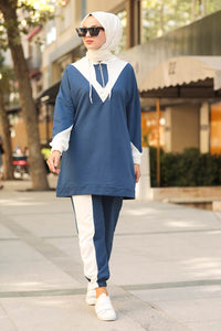 Women's Hooded Indigo Sport Tunic & Pants Set