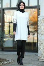 Load image into Gallery viewer, Women's Sleeve Detail White Modest Tunic