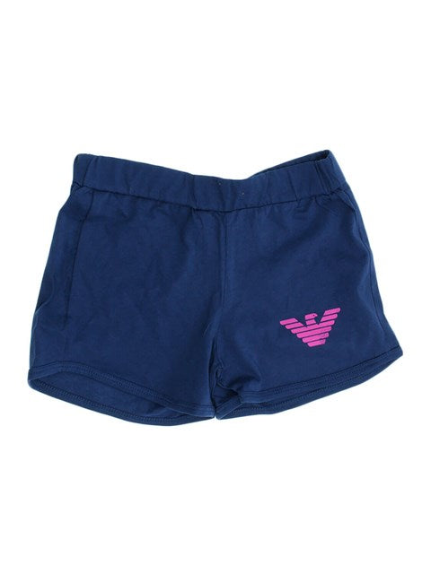 Kid's Elastic Waist Navy Blue Plain Shorts