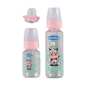 Baby's Cow Design Pink Bottle Set- 3 Pieces