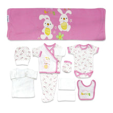 Load image into Gallery viewer, New Born Baby's Rabbit Design Pink White Outfit- 10 Pieces