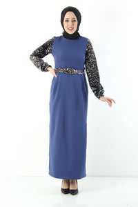 Women's Sequined Indigo Long Dress