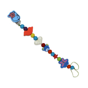 Baby's Blue Cat Figure Multi-color Beaded Bottle Strap