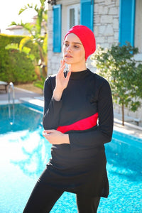 Women's Long Sleeve Black - Red Modest Swimwear