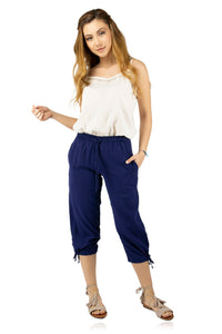 Women's Navy Blue Gauze Capri Pants