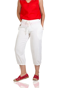 Women's White Gauze Capri Pants