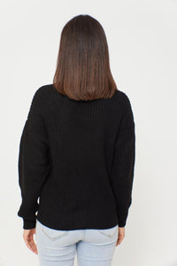 Women's Button Black Cardigan