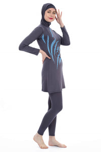 Women's Long Sleeve Patterned Lycra Modest Swimwear