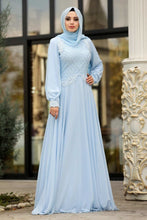 Load image into Gallery viewer, Women's Sequin Baby Blue Evening Dress