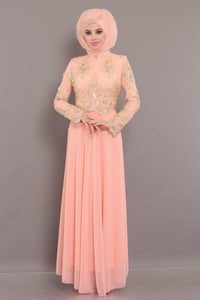 Women's Lace Top Salmon Evening Dress