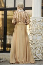 Load image into Gallery viewer, Women's Sequined Top Gold Evening Dress