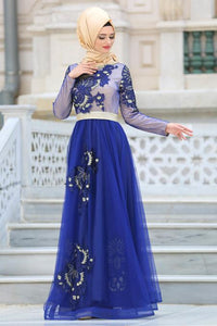 Women's Gemmed Collar Saxe Evening Dress