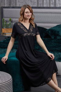 Women's Lace Detail Black Soft Nightgown