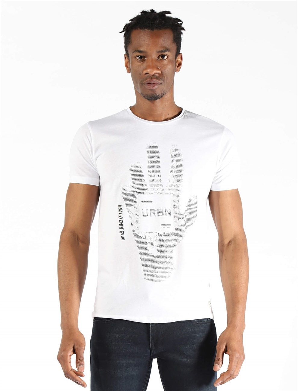 Men's Printed White T-shirt