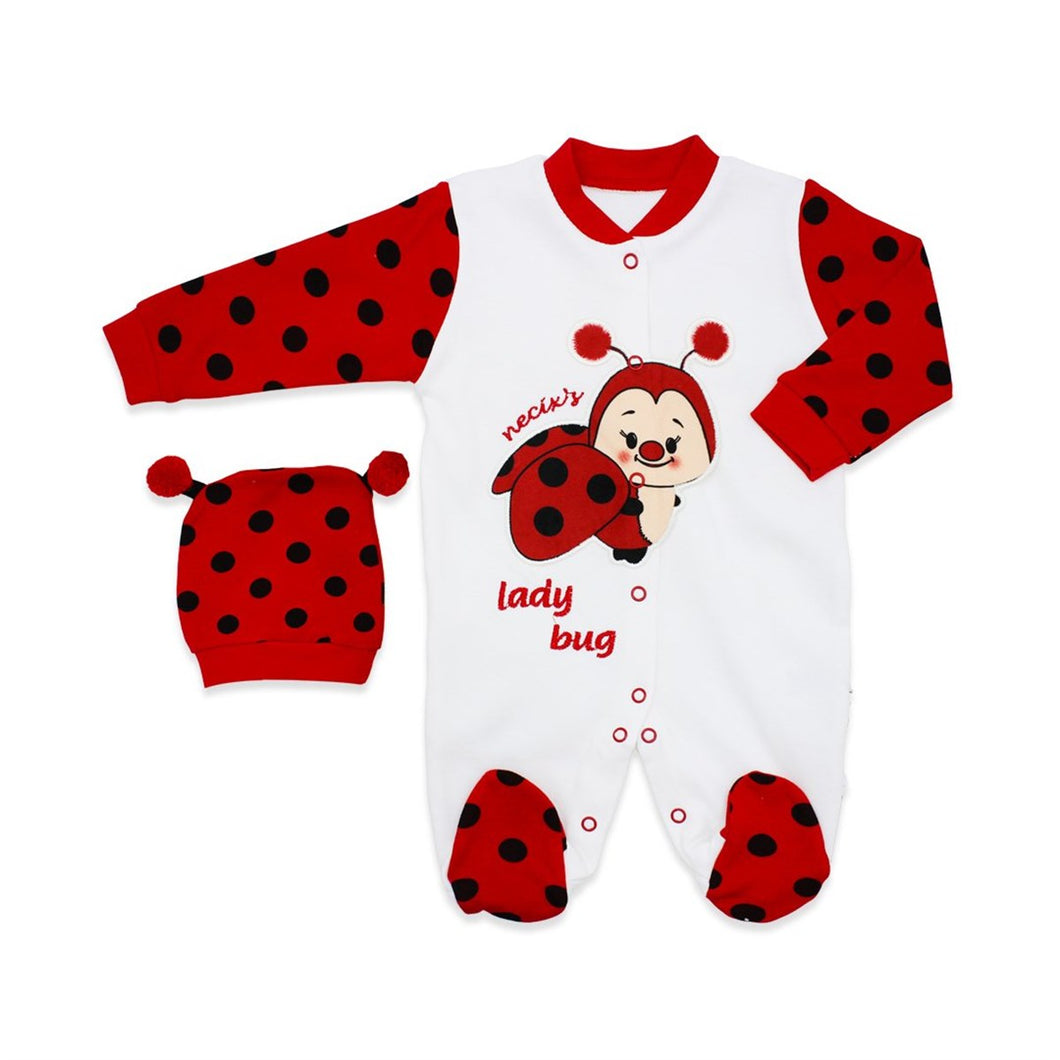 Baby's Ladybug Design White Red Romper & Beanie Set
