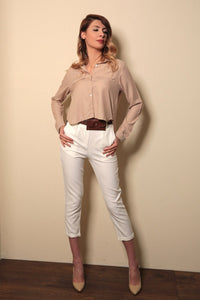 Women's Long Sleeves Beige Shirt