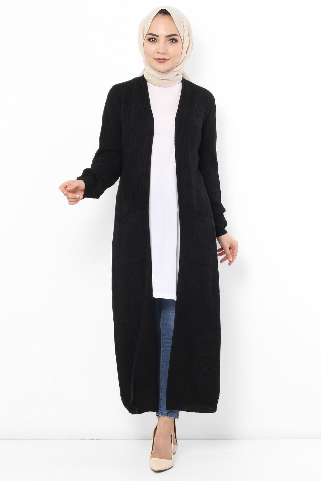 Women's Long Black Cardigan