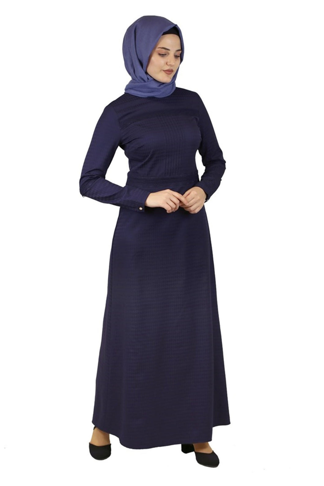 Women's Lace Detail Navy Blue Long Dress