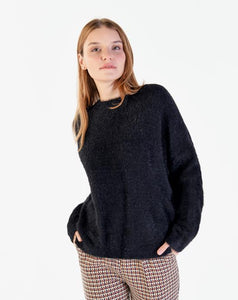 Women's Black Soft Texture Sweater