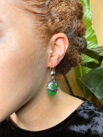 Green Glass Sterling Silver Tuareg Earrings