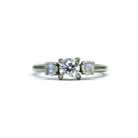 White gold diamond engagement ring with moonstones